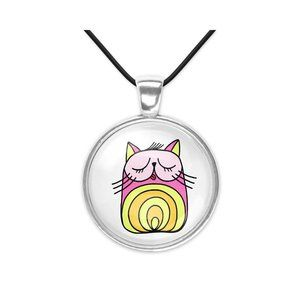 Jazzy Cat Glass Pendant Necklace Fun Whimsical New